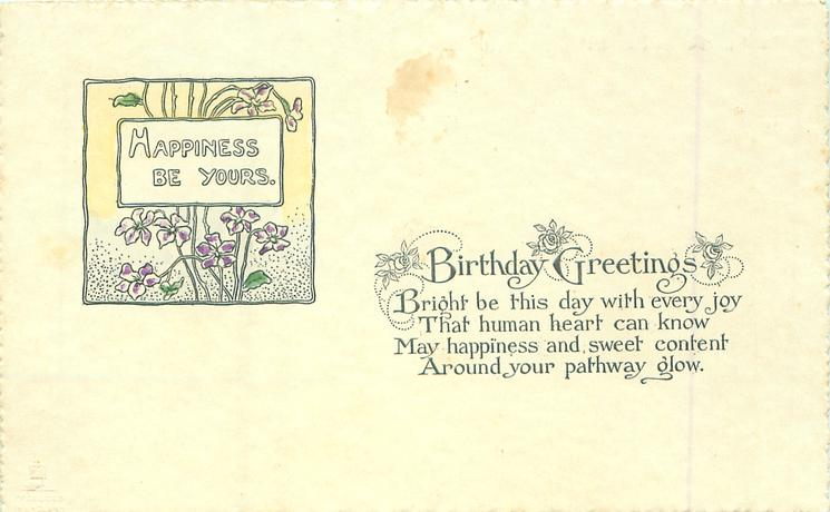 BIRTHDAY GREETINGS  HAPPINESS BE YOURS (in floral inset)