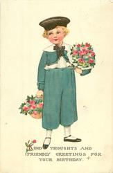 Dutch boy carries two pots of roses