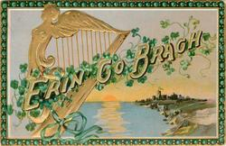 ERIN GO BRAGH  harp & castle SHAMROCKS
