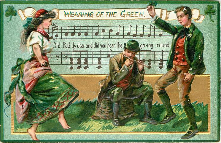 WEARING OF THE GREEN  OH, PAD-DY DEAR DID YOU HEAR THE SONG GOING ROUND  couple dance, shamrocks