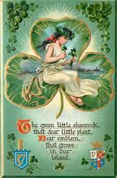 THE GREEN LITTLE SHAMROCK, THAT DEAR LITTLE PLANT, DEAR EMBLEM THAT GROWS IN OUR ISLAND  girl in 3 leaf clover shaped inset