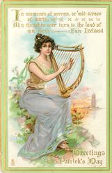 IN MOMENTS OF SORROW, OR 'MID SCENES OF MIRTH, MY THOUGHTS EVER TURN TO THE LAND OF MY BIRTH- FAIR IRELAND'  GREETINGS  girl plays harp