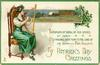 GREETINGS  IN MOMENTS OF SORROW, OR 'MID SCENES OF MIRTH MY THOUGHTS EVER TURN TO THE LAND OF MY BIRTH-FAIR IRELAND  girl sits playing harp, night rural inset