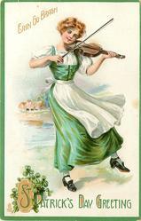 GREETING  ERIN GO BRAGH  girl fiddles as she dances