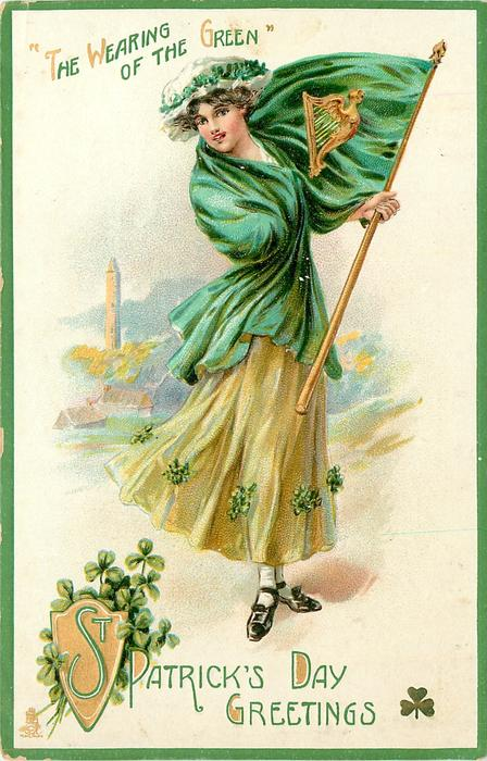 GREETINGS 'THE WEARING OF THE GREEN'  girl with flag
