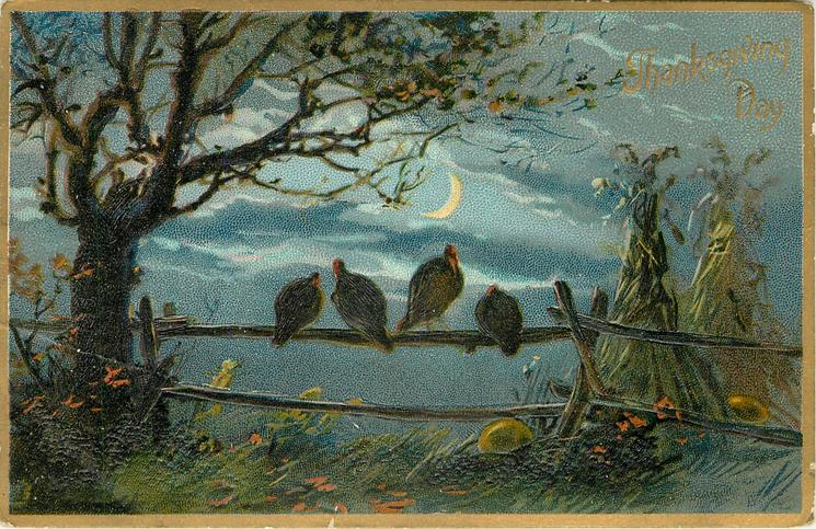 night scene, four turkeys sit on fence, tree left, moon behind, two stacks of hay right