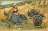 woman sits in field with seven turkeys, rocks lower left, stooked grain upper right