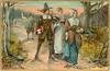 five pilgrims walking from town & church