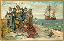 pilgrims on shore, one left in red kneeling, others standing, ship behind in water