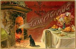 black cat sits in front of fireplace, THANKSGIVING spelled out in smoke from cooking pot, table right