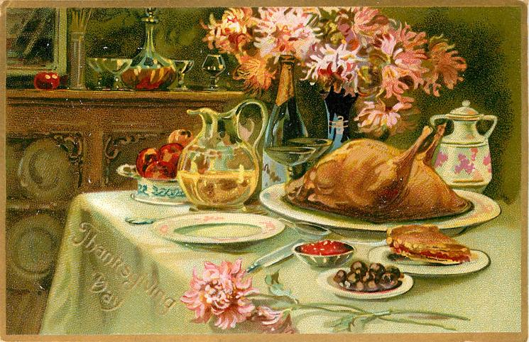 cooked turkey on plate on table, also on table are two pitchers, other plates & flowers, dresser behind