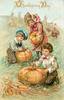 three children in field, each has a pumpkin, two boys carve, girl stands, pumpkins read GOOD WISHES, PEACE AND PROSPERITY