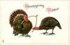 THANKSGIVING WISHES  tom & hen turkeys pulling each end of wishbone