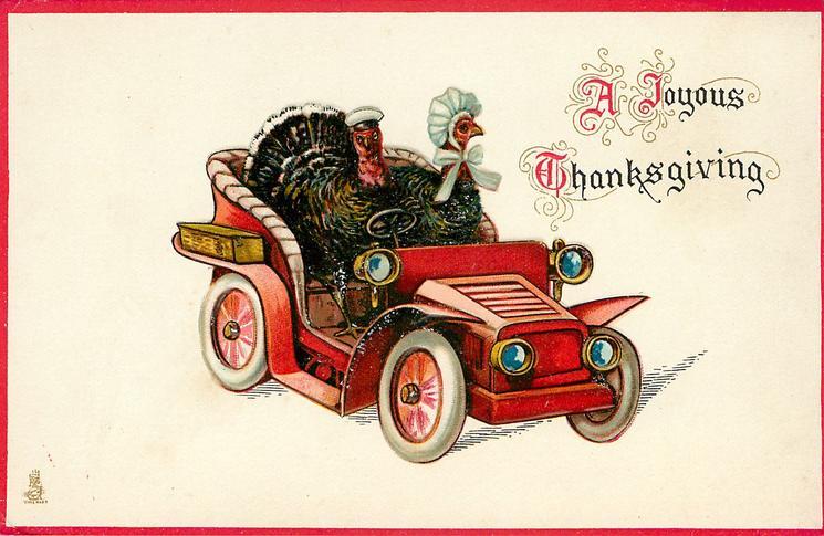 A JOYOUS THANKSGIVING  tom turkey drives car, hen turkey sits beside