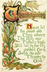 NOW LET THE GOOD OLD CROP ADORN THE HILLS OUR FATHERS TROD; STILL LET US, FOR HIS GOLDEN CORN, SEND UP OUR THANKS TO GOD