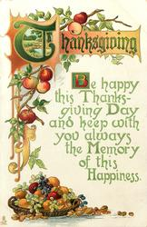 BE HAPPY THIS THANKSGIVING DAY AND KEEP WITH YOU ALWAYS THE MEMORY OF THIS HAPPINESS