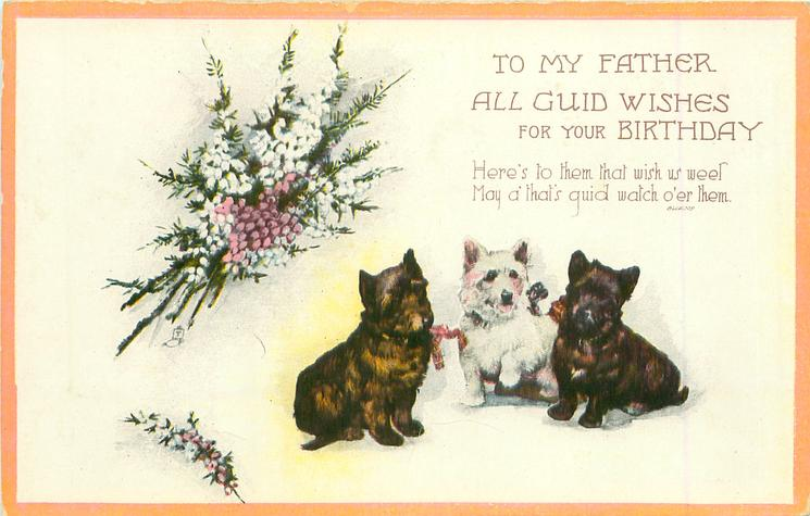 TO MY FATHER  ALL GUID WISHES FOR YOUR BIRTHDAY three Scotties & heather