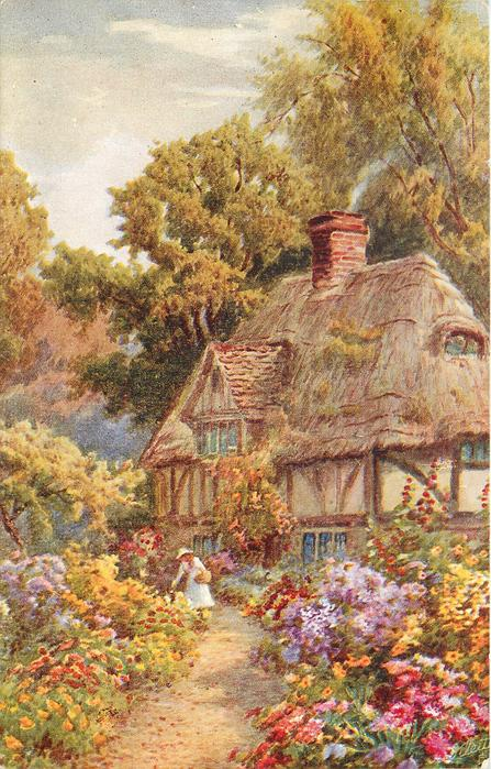 woman with basket on left arm on gravel path before thatched cottage behind right