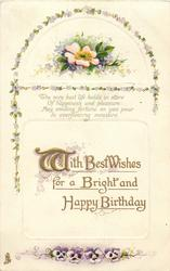 WITH BEST WISHES FOR A BRIGHT AND HAPPY BIRTHDAY  pansies, rose