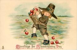 GREETINGS FOR THANKSGIVING DAY  boy with basket of apples