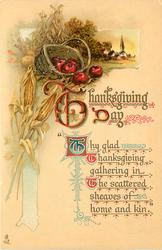 THANKSGIVING DAY  ' THY GLAD THANKSGIVING GATHERING IN THE SCATTERED SHEAVES OF HOME AND KIN