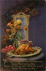 thanksgiving turkey on table, purple background