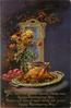 thanksgiving turkey on table, purple background