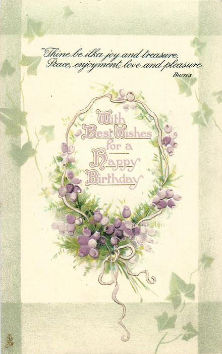 WITH BEST WISHES FOR A HAPPY BIRTHDAY  heather, ivy