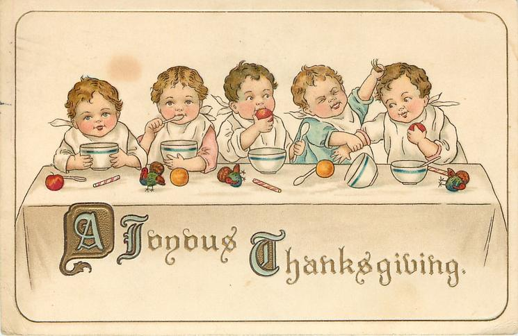 A JOYOUS THANKSGIVING  five children sit at table facing front , two fight