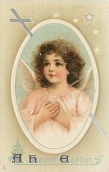 A HAPPY EASTER  angel with hands on heart, in pale pink robe