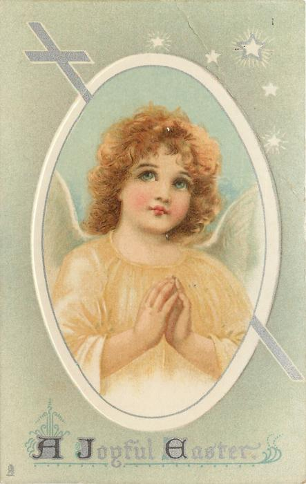 A JOYFUL EASTER  angel praying in pale yellow robe