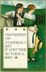 MAVOURNEEN ON ST. PATRICK'S DAY IT IS NO TIME TO TURN A WAY!  couple stand looking right,donkey head left