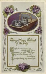 MANY HAPPY RETURNS OF THE DAY  two kittens in basket, violet surround