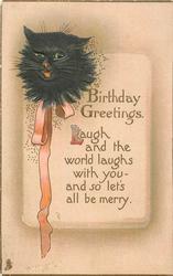 BIRTHDAY GREETINGS  cats head, orange ribbon