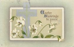 EASTER BLESSINGS BE YOURS  cross upright, seven white pansies