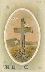 A HAPPY EASTER  cross with flowers at base, three white birds