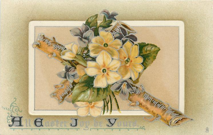 ALL EASTER JOY BE YOURS  yellow primroses on natural wood cross