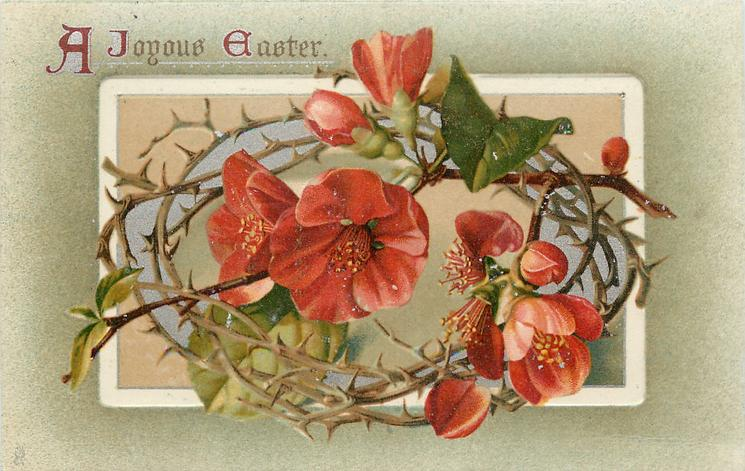 A JOYOUS EASTER  red flowers in crown of thorns