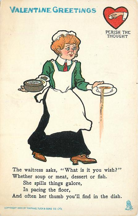 THE WAITRESS ASKS WHAT IS IT YOU WISH?//FIND IN THE DISH