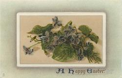 A HAPPY EASTER  violets in oblong inset