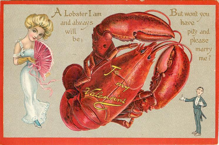 TO MY VALENTINE A LOBSTER I AM AND ALWAYS WILL BE;  BUT WON'T YOU HAVE PITY AND PLEASE MARRY ME?