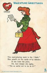 """THE CARD PLAYING MAID IS THE """"LIMIT"""" HER MIND'S ON THE CARDS EVERY MINUTE; IF SHE LOOSES THE PRIZE, OH, HOW DEEPLY SHE SIGHS, ''TIS SO AWFUL NOT TO BE IN IT!"""