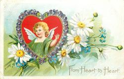 FROM HEART TO HEART cupid in heart, daisies