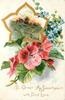 TO GREET MY SWEETHEART WITH FOND LOVE  red begonias below insert of rural scene