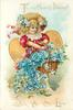 TO MY HEART'S DEAREST WITH ALL MY LOVE  girl with  forget-me-nots in front of gilt heart