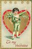 TO MY VALENTINE  boy in green carrying lilies-of-the-valley stands in front of gilt heart