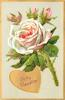 TO MY VALENTINE  in gilt heart, peach coloured moss rose with three buds above