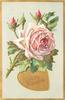 TO MY VALENTINE  in gilt heart, pink rose,stem to left
