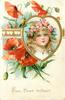 FROM HEART TO HEART  girls face inset in gilt heart, red poppies