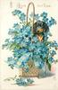I LOVE BUT THEE  dachshund in basket of forget-me-nots